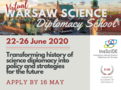 This summer, the InsSciDE project organizes the first edition of our flagship training program the Warsaw Science Diplomacy School (WSDS 2020: Virtual)!